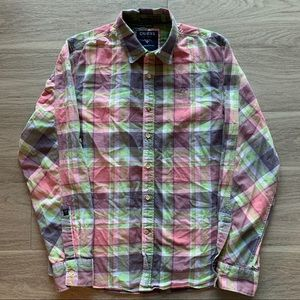 Guess Plaid Long Sleeve Shirt men's size M red.